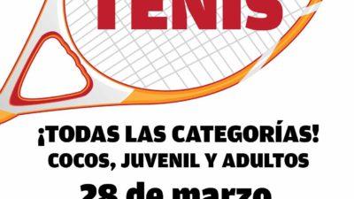 Torneo de tenis para todos el 28 de marzo