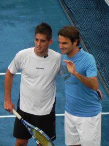 Jorge Lora Director Escuela de tenis CD Jarama con Roger Federer